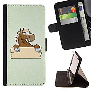 BullDog Case - FOR/Sony Xperia M2 / - / Funny Friendly Horse /- Monedero de cuero de la PU Llevar cubierta de la caja con el ID Credit Card Slots Flip funda de cuer