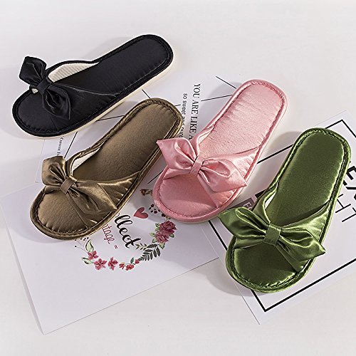 Eastlion Fashion Home Unisex Shoes Flat Bottom Floor Silk Satin Soft Slippers For Couple Female Pink sPwh0ql9