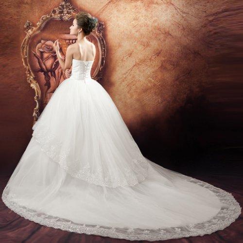 A Weiß Kristall Prinzessin Linie Ausschnitt Kleidungen Brautkleider Kapelle Damen Tuell Herz Schleppe Mit Applikation Dearta Perlenstickerei ExFORqnZ
