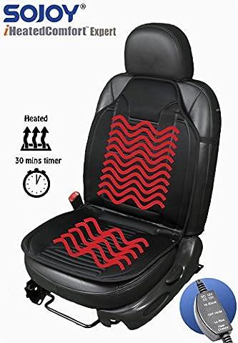 sojoy SJ120R009T Universal 12V Heated Car Seat/Cushion Warmer High/Low, 30 Mins Automatically Turn-off Timer, Black