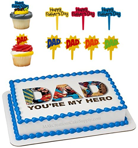 - Super Hero DAD Licensed Edible Wafer Cake Topper & Cupcake Pic Combo