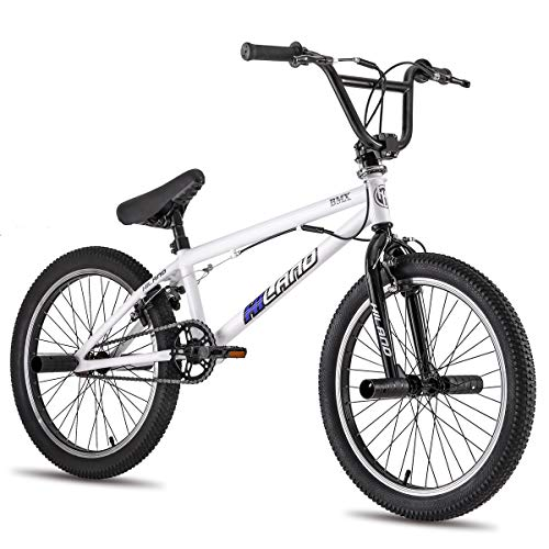 Hiland Kids BMX Bike for Boys Teenager Girls Freestyle Bicycle with Pegs 360 Rotor Double U-Brakes White