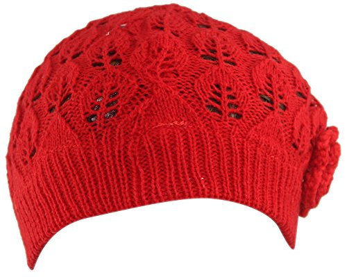 Women's Super Soft Flower Laciness Knit Beanie Hat