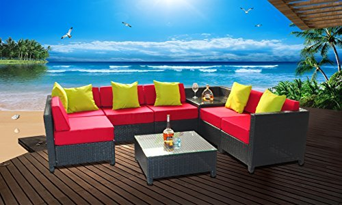 MCombo 8 Piece Luxury Black Wicker Patio Sectional Indoor Outdoor Sofa Furniture Set with Red Cushioned Seat (Indoor Wicker Sectional)
