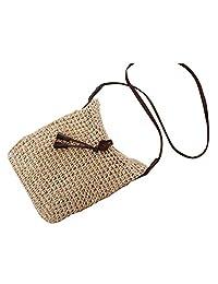 Flada Women Crochet Summer Beach Purse Bag Handmade Straw Tote Handbag