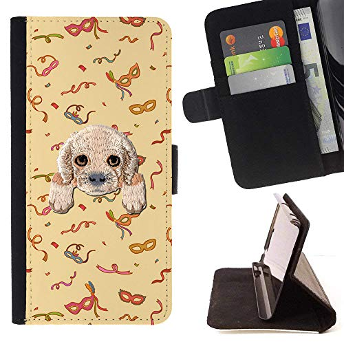 [ Cocker Spaniel ] Embroidered Cute Dog Puppy Leather Wallet Case for LG K4 (2017) / LG K8 (2017) / LG Aristo/LG Phoenix 3 / LG Risio 2 / LG Fortune [ Mysterious Masquerade Pattern ] -