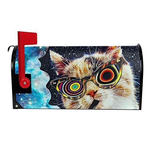 Tidyki Space Cat with Glasses Smoking Large Magnetic Mailbox Cover Seasons Spring Summer Fall Winter MailWraps Letter Post Box Garden Yard Home Decor for Outside Standard Size 21x18 in]()