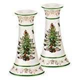 Spode Christmas Tree Gold Candlesticks, Set of 2