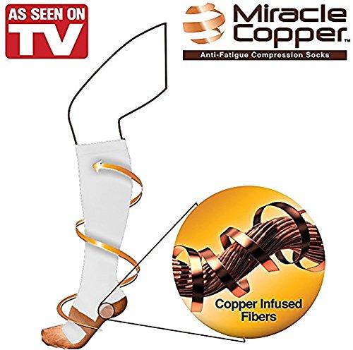 Closeout Athletic Shoes - Miracle Copper Anti-Fatigue Compression Socks, White, L/XL, Men's shoe 10-12.5/Women's Shoe 10-13.5