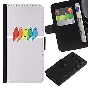 A-type (Birds Colors Painting Birch Minimalist) Colorida Impresión Funda Cuero Monedero Caja Bolsa Cubierta Caja Piel Card Slots Para Samsung Galaxy S3 III I9300