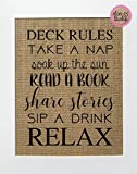 8x10 UNFRAMED Deck Rules/Burlap Print Sign/Fun Family Wall Print Rustic Country Shabby Chic Vintage Love House Sign Gift Kitchen House Decor