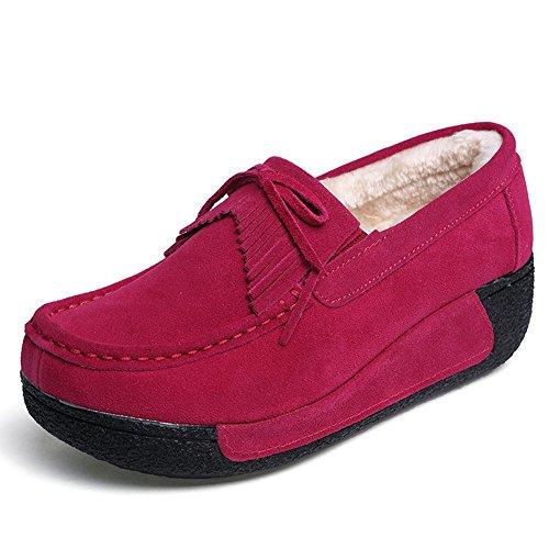 Scamosciata Loafers in Pelle Z 1 Velluto Scarpe da Donna Rosa comode SUO Moda Mocassini Guida Più xqwXFXUB