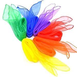12pcs Square Juggling Silk Dance Scarves, Grosun Magic Tricks Performance Props Accessories Movement Scarves