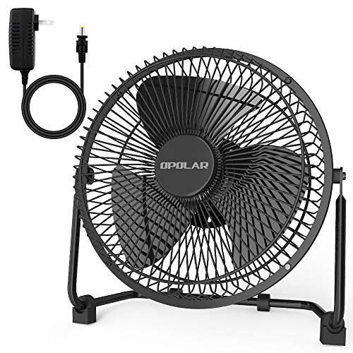 OPOLAR 2019New 10 Inch Metal Desk Fan, Sturdy Frame, Enhanced Airflow with Whisper Quiet Operation and 2 Speed Settings, Adjustable Angle, Personal Electric Cooling Fan for Home & Office Table Desktop