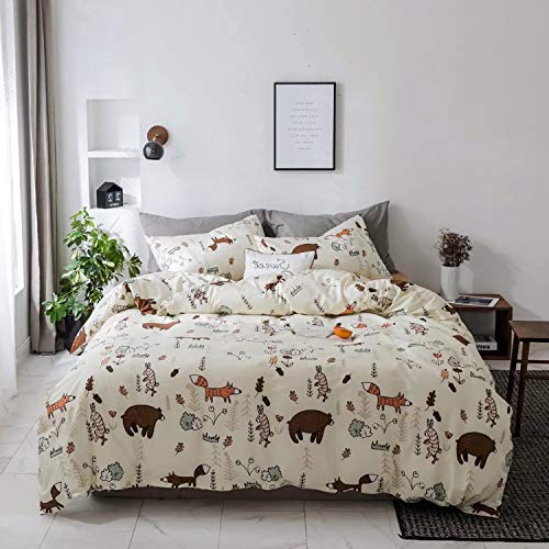 Jumeey Duvet Cover Set Queen Animal Print Brown Bear Bedding Sets for Child Teen Boys,Premium Reversible Rabbit Fox Forest Duvet Cover with Zipper Closure,Breathable,Soft,Cute,NO Comforter