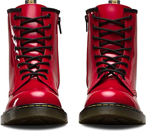 Dr Martens Youth Delaney Patent Leather 8-Eye Lace Up / Zip Boot Red-Red-4 (Older) Size 4 (Older) Descuento Best Place aok5N