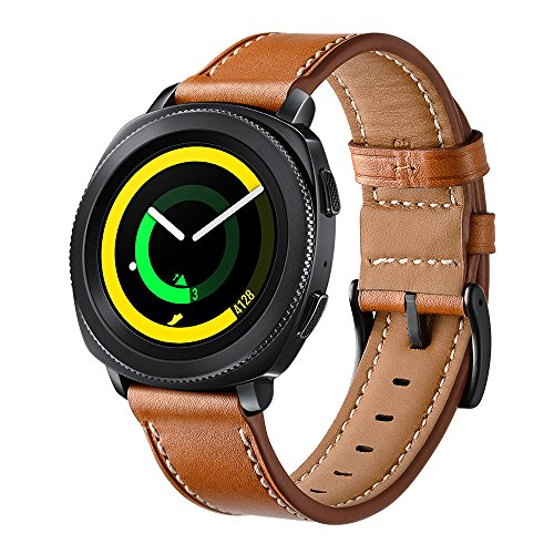 Kartice Compatible Gear Sport Band,Galaxy Watch (42mm) Bands,20mm Genuine Leather Strap Replacement Buckle Strap Wrist Band for Gear SportWatch (42mm) & Ticwatch E&Garmin vivoactive3(Brown)