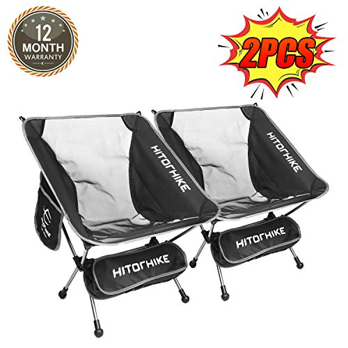 Hitorhike Camping Chair 2PCS Breathable Mesh Aluminum Frame with Carry Bag Compact Folding Chair for Backpacking and Camping