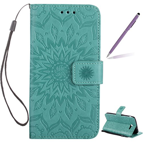Trumpshop Smartphone Protective Case for Samsung Galaxy J7 Sky Pro (TracFone) SM-J727 [Green] 3D Mandala Premium PU Leather Flip Wallet Cover Bookstyle Card Slots Stand Feature Shockproof