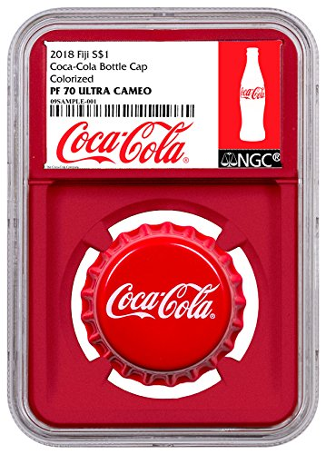 Silver Coin Shaped (2018 FJ Fiji Coca-Cola Bottle Cap-Shaped 6 g Silver Colorized Proof Coin Red Core Holder Exclusive Coca-Cola Label $1 PF70 UC NGC)