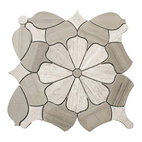 Waterjet Design Marble Mosaic Tile, WJM 3002 - Daisy, 11