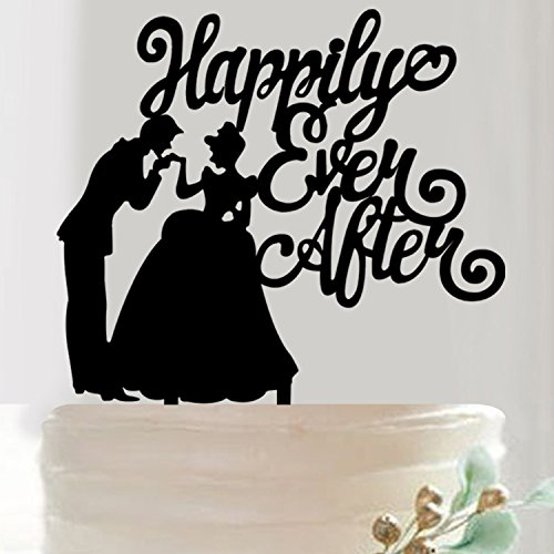 Briliant Shop Proposal, Engagement, Wedding or Wedding Anniversary Party Cake Topper (Happily Ever After Black - Wedding Black Cake People Topper