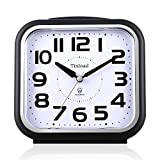 5.5'' Silent Analog Alarm Clock Non Ticking, Gentle Wake, Beep Sounds, Increasing Volume, Battery Operated Snooze and Light Functions, Easy Set (Best for Elder)