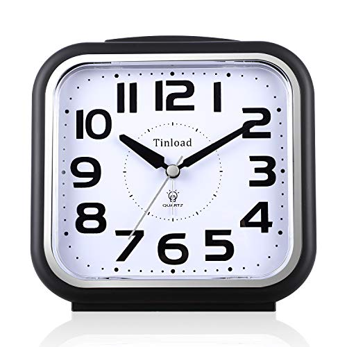 5.5 Silent Analog Alarm Clock Non Ticking, Gentle Wake, Beep Sounds, Increasing Volume, Battery Operated Snooze and Light Functions, Easy Set, Black (Best for Elder)