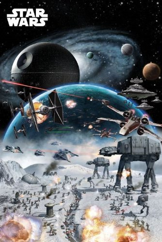 Licensed Tie - Laminated Officially Licensed Star Wars X-Wing And TIE Fighter A Mighty Space Battle Poster 91.5x61cm