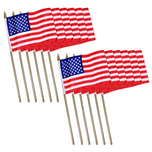 "US Patriotic Mini Stick Flags USA Plastic Stick Flag American Flag (4"" x 6"") - Pack of 12"