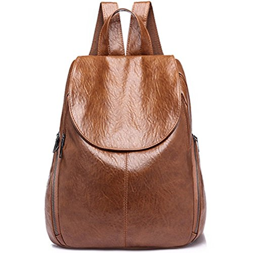 Fashion PU Leather Backpack Shoulder Bag Rucksack Travel Bag (L032-Brown) by MSXUAN