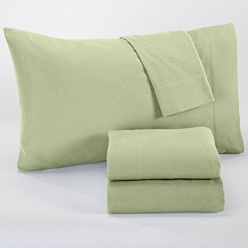 Nordic Collection Extra Soft 100% Cotton Flannel Sheet Set. Warm, Cozy, Lightweight, Luxury Winter Bed Sheets in Solid Colors. By Home Fashion Designs Brand. (Queen, Reseda Green) (Queen Flannel Sheets Sets compare prices)