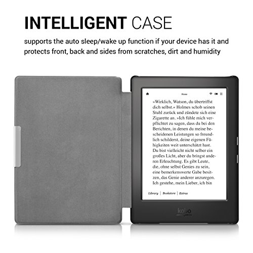 kwmobile Case Compatible with Kobo Aura H2O Edition 1 - PU e-Reader Cover - Don't Touch My E-Reader White/Black