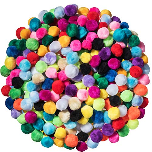 300 Pieces 1 Inch Assorted Multicolor Acrylic Pom Poms 20 Colors Fuzzy Ball Craft for DIY Arts and Crafts Decorations Classroom Projects Holidays Hobbies