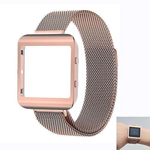 Ztotop Housing Frame Loop with Band for Fitbit Blaze Smart Watch --Small, Rose Gold