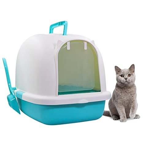 AUOKER Cat Litter Box with Lid Extra Large, Enclosed Sifting Cat Litter Box Set with Scoop for Pets Cats Kitten, Hooded Cat Litter Trays Pan Easy to ...