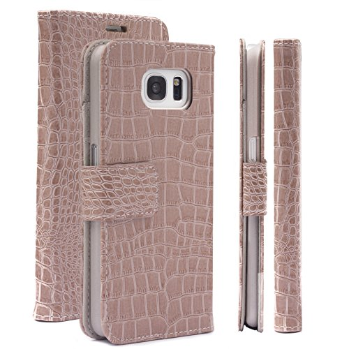 Caiman Crocodile Belt (Samsung Galaxy S7 Case | Caiman Crocodile champagne | iCues Maraba Wallet | other Leather - and color variations available | Protective cover with Card Slots - Kickstand and Gift)