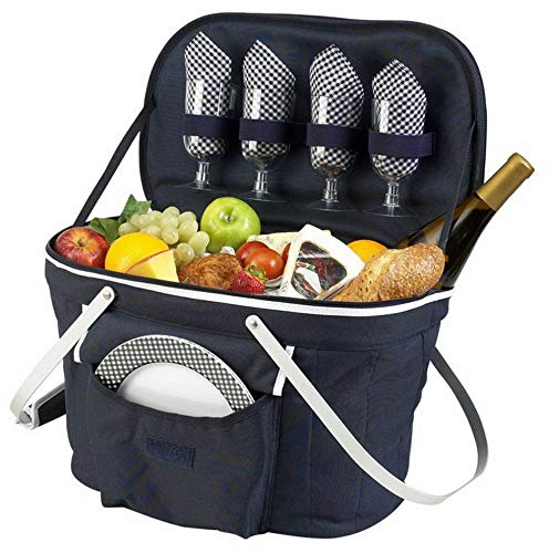 (Mikash Collapsible Insulated Picnic Basket Set with Serving for 4 | Model PCNCST - 5 | )