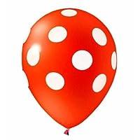 """Balão de Látex Decorado Vermelho Com Bolinhas Brancas 10"""" 28cm 25un Pic Pic"""