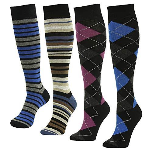 Men Dress Socks, SUTTOS Men Fashion Socks Blue Pink Yellow Black Argyle Plaids Over The Calf Knee High Long Tube Warm Cotton Casual Dress Socks Knee High Socks, 4 Pairs