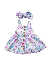 2PC Baby Girl Floral Dress Sleeveless With Button Pleated dresses + Headband Sundress