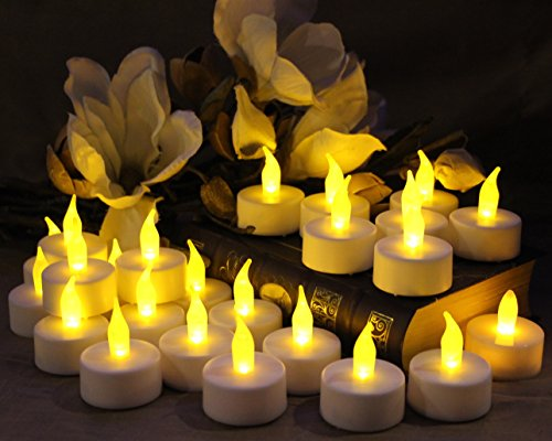 authentic flameless tea light candles by led lytes 24 amber yellow flickering faux tealights. Black Bedroom Furniture Sets. Home Design Ideas