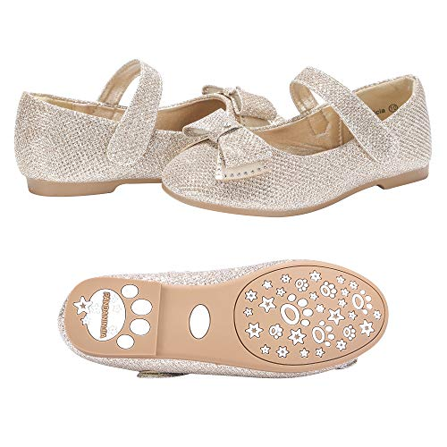 PANDANINJIA Toddler/Little Kids Felicia Bow Glitter Gold Ballet Flower Mary Jane Girls Flats Dress Shoes