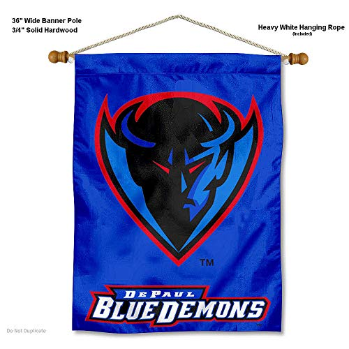 College Flags and Banners Co. DePaul Blue Demons Banner with Hanging Pole