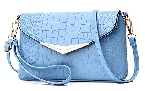 Borlas De bolso negro La Retro 15cm Cadenabolsa Mensajero Xkbao bolsa bolsa Azul 24 5 bolsa Mensajero bolsa Pu bolso Cielo Pu Cuero bolsos x45xYw7qT