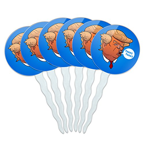 (Funny Donald Trump Face Tweet Tweet Cupcake Picks Toppers Decoration Set of 6)