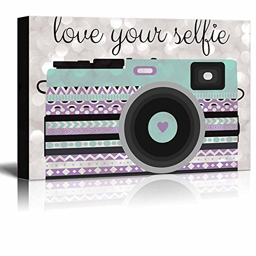 Love Your Selfie minty green zentangle camera on a silver colored bokeh background