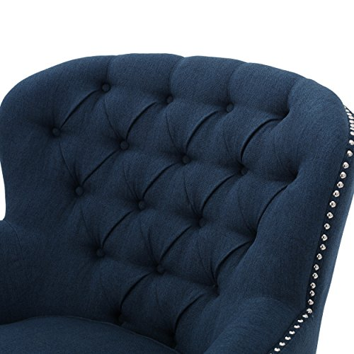 Grands Tufted Fabric Club Chair, Contemporary Lounge Accent Chair, Dark Blue - 3