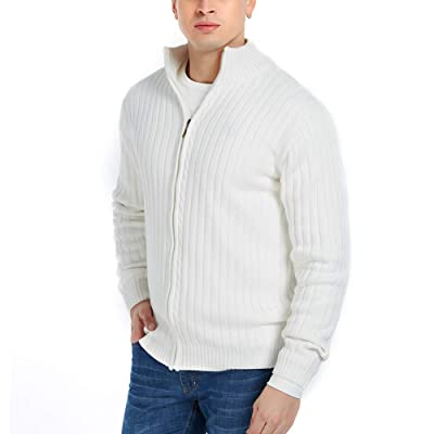 APRAW Men's Casual Slim Fit Cardigan Sweaters with Zipper Cotton Knitted Cardigan for Men at Men's Clothing store