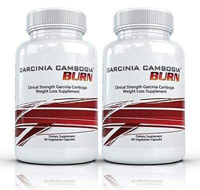 Garcinia Cambogia Burn (2 Bottles) - Clinical Strength Garcinia Cambogia Weight Loss Supplement. 750mg per Capsule (60% HCA) - 60 Capsules per Bottle